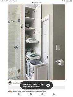 Hidden Laundry Storage Bathroom Ideas For 2019 Small Bathroom Storage, Bathroom Closet, Laundry Room Storage, Upstairs Bathrooms, Cupboard Storage, Bathroom Renos, Laundry In Bathroom, Bathroom Styling, Bathroom Interior