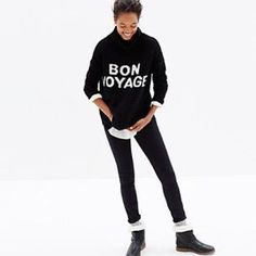 "Madewell Bon Voyage Cowl Neck Pullover Cute lightweight Madewell Pullover with ""Bon Voyage"" written on the front. Size XS, slouchy loose fit. Madewell Sweaters Cowl & Turtlenecks"