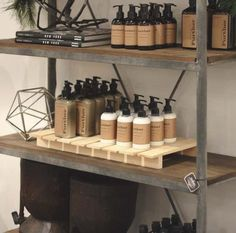 The Large Craft Pallet from Crates and Pallet is great for merchandising lotions or even hanging on a wall to showcase scarves, towels, or jewelry.