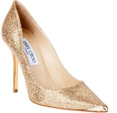Jimmy Choo Abel Golden Glitter Pumps! Love them!