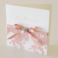 Pink Vintage Antique Lace & diamante button Wedding Invitation
