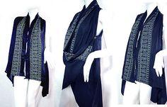 vtg thai HIPPIE BOHO gypsy art tunic Kaftan wrap vest light jacket cover up long ...more colors