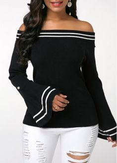 Rosewe Women Sweater Black Off The Shoulder Long Sleeve Striped Flare Sleeve Striped Black Off the Shoulder Sweater Cardigan Sweaters For Women, Long Sleeve Sweater, Black Sweaters, Ladies Sweaters, Stylish Tops For Girls, Trendy Tops For Women, Look Fashion, Trendy Fashion, Fashion Trends