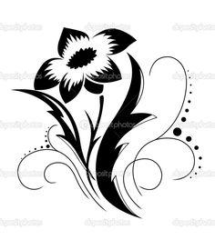 Наклейка Black a white flower pattern.  Наклейка - Цветок черный белый узор.