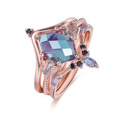 Quartz Engagement Ring, Engagement Rings, Alexandrite, Rutilated Quartz, Bridal Sets, Wedding Rings, Rose Gold, Enagement Rings, Diamond Engagement Rings