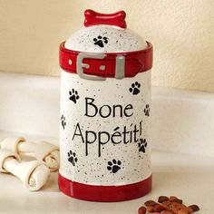 Bone Appetit Ceramic Dog Treat Jar