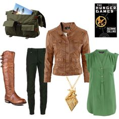 A fashion look from February 2012 featuring green shirt, brown jacket and cargo pants. Browse and shop related looks. Hunger Games, New Outfits, Hair Beauty, Geek, Inspired, My Style, Celebrities, Awesome, Womens Fashion