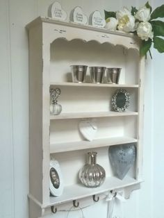 Shabby Chic Wall Unit 4 Shelf Storage Cupboard Cabinet Hook French Vintage Style in Home, Furniture & DIY, Furniture, Cabinets & Cupboards Kitchen Shelf Unit, Country Kitchen Shelves, Country Cupboard, Wall Shelf Unit, Kitchen Wall Shelves, Bookshelf Wall, Shabby Chic Wall Unit, Shabby Chic Cabinet, Shabby Chic Farmhouse