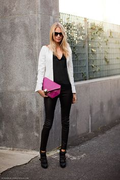 black / leather / white blazer / sheer / fuscia clutch
