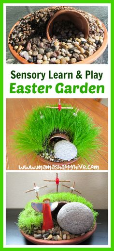 Enjoy 8 Montessori inspired Christian Easter shelf activities for kids. Activities included for art, sensorial, practical life, science, and language work. - www.mamashappyhive.com
