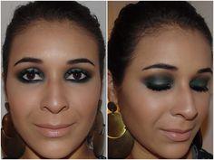 Make com sombra verde e iluminado no centro da pálpebra