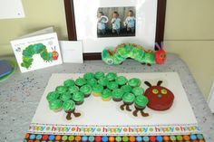Eric Carle Birthday Cake- This is a great idea! What if the foods were also cupcakes?
