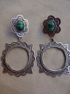 Huge NAVAJO Hand-Stamped Sterling Silver & Green Malachite EARRINGS