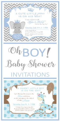 Baby Shower Invitations for Boys - Baby Shower Ideas for Boy - Baby Shower Themes for Boys - Printable Baby Shower Invitations for Boy