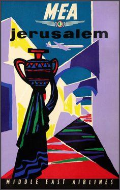 M-E-A Jerusalem Israel Vintage Airline Travel Advertisement Art Poster Print - Landscape Art - Ideas of Landscape Art Poster Ads, Poster Prints, Art Prints, Vintage Travel Posters, Vintage Ads, Vintage Airline, Middle East Airlines, Travel Ads, Airline Travel