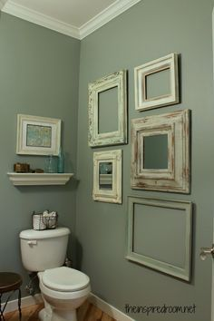 Small Bathroom Decorating Ideas | Decozilla  (T) idea:  Put frames on chalkboard wall, change quotes throughout the year.?