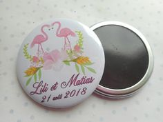 """Grand magnet 56 mm PERSONNALISABLE collection """"flamengo mariage"""" flament rose, blanc, rose, vert, feuilles, fleurs, mariage : Accessoires de maison par miss-coopecoll"""
