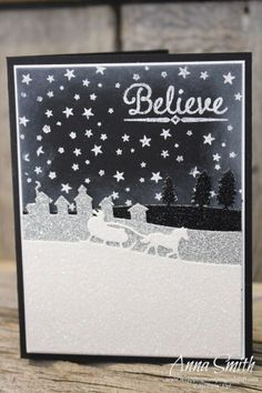 A Magical Night Christmas Card using Stampin' Up! Sleigh Ride Edgelits dies and Lighthearted Leaves and To You and Yours Too stamp sets