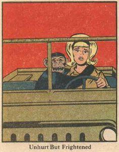 """Unhurt but frightened ""  vintage comic art"