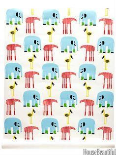 Karkulaiset wallpaper by Marimekko through newwall.com. #elephants #kids #boy