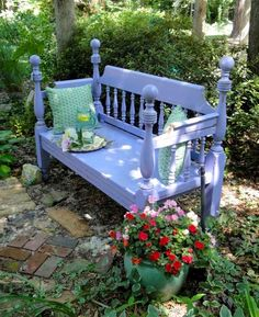 Bed Frame into a Garden Bench ~ love the taller spindles on this one. I may have to improvise and lengthen mine!
