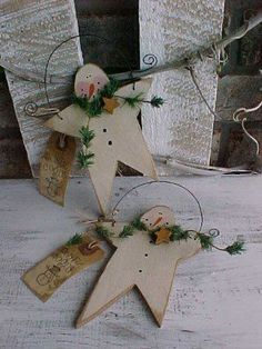 HP PRIMITIVE STAR SNOWMAN ORNAMENT hanger winter bag tag snow RUSTIC GOODS