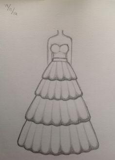 Wedding dress 1 Girl Drawing Sketches, Cute Easy Drawings, Art Drawings Beautiful, Girly Drawings, Art Drawings Sketches Simple, Dress Design Drawing, Dress Design Sketches, Fashion Design Sketchbook, Fashion Design Drawings