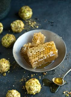 goats cheese truffles w/ honey and pistachios