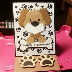 Marianne Design Cards, Dog Ornaments, Kids Birthday Cards, Dog Cards, Easel Cards, Animal Cards, Cute Cards, Hobbies And Crafts, Paper Crafting