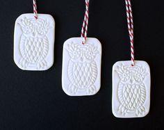 Porcelain Christmas ornaments 3 owl ceramic by cornishandslim