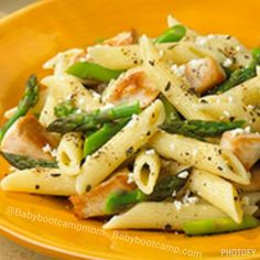 What's for dinner? Try Chicken, Asparagus and Penne Pasta made healthier  Serves 2 (Increase ingredients for additional servings)  Ingredients: 1 1/2 cups uncooked whole-grain penne pasta 1 cup asparagus, cut into 1-inch pieces 6 ounces boneless, skinless chicken breasts, cut into 1-inch cubes 2 cloves garlic, minced 1 can (14.5 ounces) diced tomatoes, no salt added, including juice 2 teaspoons dried basil or oregano 1 ounce soft goat cheese, crumbled 1 tablespoon Parmesan cheese  Directions…