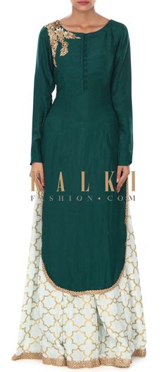 Buy this Green straight suit matched with palazzo pant only on Kalki
