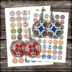 Old Patterns Circle Images 1 inch 20mm 18mm by MobyCatGraphics, $3.80