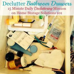 How to declutter bathroom drawers, plus lots of before and after photos to get you inspired to tackle this job in your own home {on Home Storage Solutions Bathroom Storage Solutions, Small Bathroom Storage, Bathroom Organization, Organization Hacks, Organized Bathroom, Organizing Tips, Bathroom Drawers, Clutter Control, Clutter Free Home