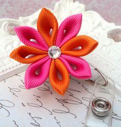 Hot Pink & Orange Kanzashi Flower Badge Holder Reel