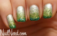 Green Glitter Gradient Nails/St. Patrick's Day Nails