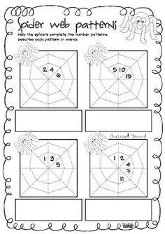 Classroom Freebies Too: Spider Web Counting Patterns Halloween Math, Halloween Activities, Math Activities, Halloween Worksheets, Holiday Activities, Math Patterns, Number Patterns, Classroom Freebies, Math Classroom