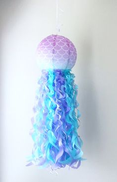 Mermaid Ombre Scales Jellyfish Paper Lantern Dessert Table Decor, Table Decorations, Jellyfish Lamp, Mermaid Parties, Paper Lanterns, Swirls, Iridescent, Recycling, Paper Crafts