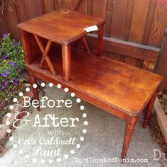 Simple Gray Side Table Makeover with Chalk Type Paint Cheap Furniture Makeover, Diy Furniture Chair, Italian Bedroom Furniture, Diy Furniture Renovation, Diy Garden Furniture, Diy Pallet Furniture, Diy Furniture Projects, Rustic Furniture, Painted Furniture