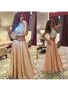 HALTER TOP BEADED SEXY LONG TWO PIECE CHEAP PROM DRESS 2017