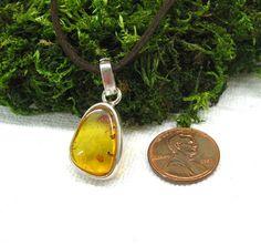 Natural Amber Pendant Leaf Petal delicate amber by SanaGem on Etsy