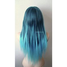 Dark blue /Teal Ombre wig. Long straight hairstyle long side bangs... ($145) ❤ liked on Polyvore featuring beauty products, haircare and hair styling tools