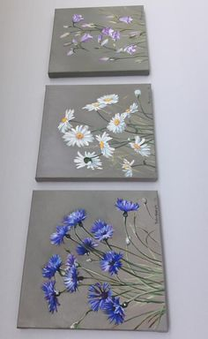 Daisies Cornflowers Bells Wildflowers bouquet, triptych, three small oil paintings on canvas, wall collage kit of floral painting Three Canvas Painting, Flower Art Drawing, Mini Canvas Art, Small Canvas, Peacock Wall Art, Acrylic Flowers, Acrylic Painting Tutorials, Artist Painting, Daisy Painting