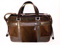 YSL Rive Gauche Brow Suede Messenger Bag Briefcase by Hedi Slimane