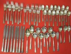 Holmes & Edwards Silverplate 1951 Mary Queen 51 Piece Flatware Lot With Case  #HolmesEdwards