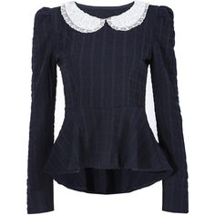 Doll Collar Dipped Hem Blouse (56 RON) ❤ liked on Polyvore featuring tops, blouses, navy, navy blue blouse, babydoll tops, long sleeve babydoll tops, slimming tops and collar top