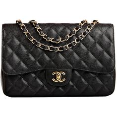 Pre-owned Chanel Black Quilted Caviar Jumbo Classic Flap Bag Gold... ($5,400) ❤ liked on Polyvore featuring bags, handbags, chanel, purses, handbags and purses, shoulder bags, leather hand bags, leather shoulder bag, quilted leather handbags and long strap purse