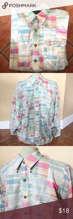 Preppy Plaid Patchwork Shirt Dock Square Island Cotton Multi Color Preppy Plaid Patchwork Button Front Shirt  100% cotton Size Large  Preowned good condition. dock square Shirts Casual Button Down Shirts