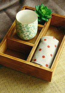 $4 retro plaid wooden box tray wooden storage box hand for fabric shooting props-ZZKKO
