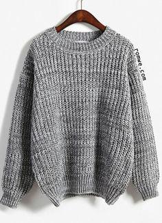 *SHEIN (SHEINSIDE) || Round neck Dolman grey sweater | Jersey gris de cuello redondo y mangas Dolman